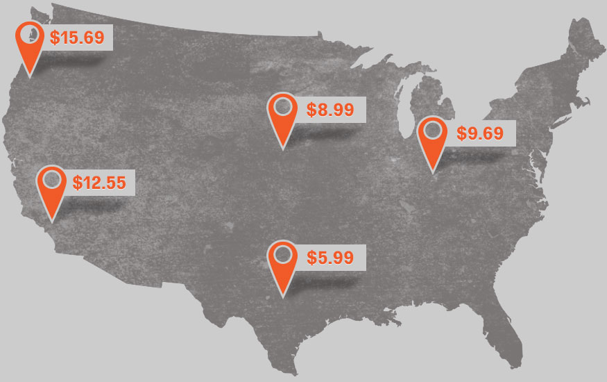Map of USA with multi-location shipping rates